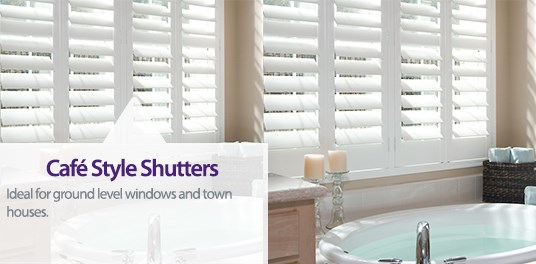 Café Style Shutters are ideal for ground level windows and town houses as they offer ample privacy.