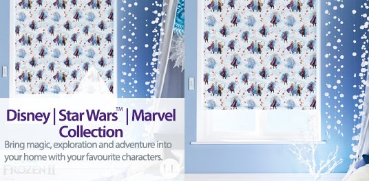 The new Disney, Star Wars and Marvel roller blind collections available from Capricorn Blinds