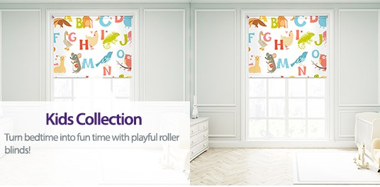 Turn bedtime into fun time with playful roller blinds from Capricorn. Blackout fabrics available.