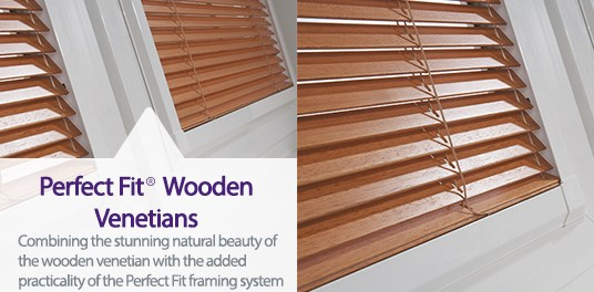 Made to measure Perfect Fit Wooden Venetian blinds from Capricorn Blinds
