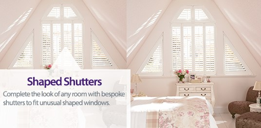 Complete the look of any room with shutters made to measure shaped windows