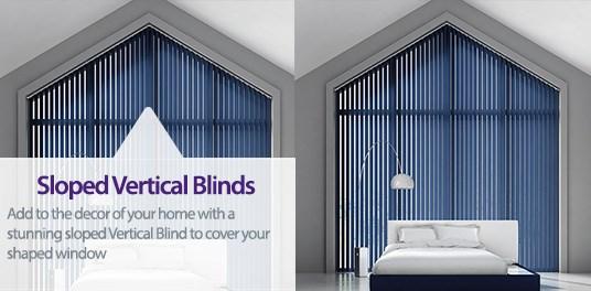 Bespoke,custom made Sloped Vertical blinds in Solihull, Birmingham and West Midlands Region