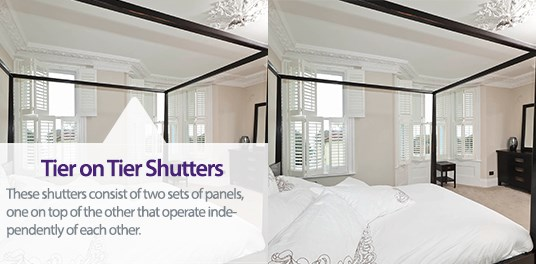 Tier on Tier Shutters consist of two panels that operate independently of each other.