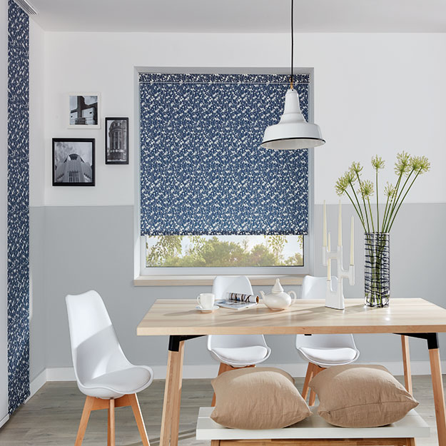Blue and White Pattern roller blind