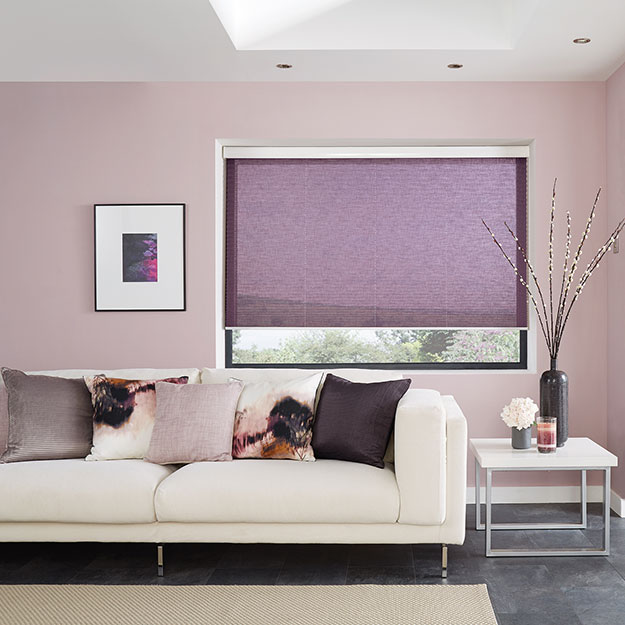 Voile Grape pleated blinds