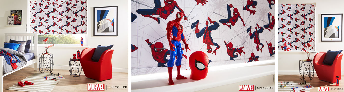 Blackout roller blinds featuring Marvel designs