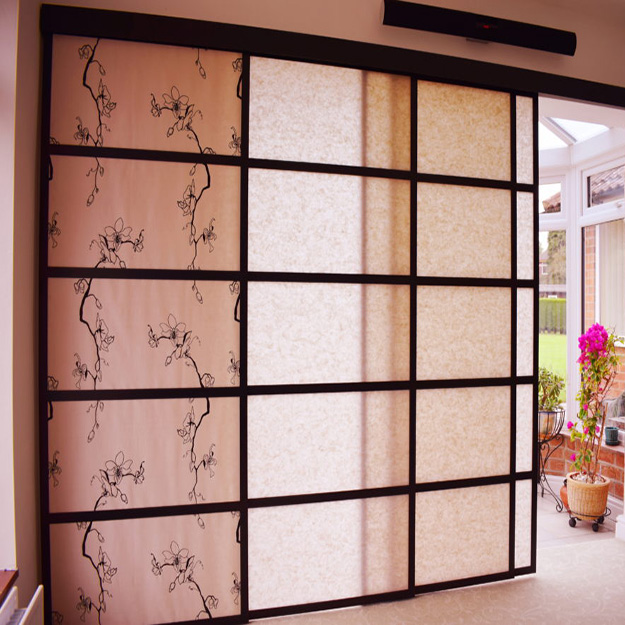 White and Black Pattern Shoji Blind