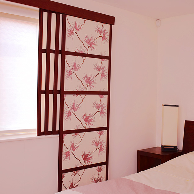 Sliding Window Flower Pattern Shoji Blind
