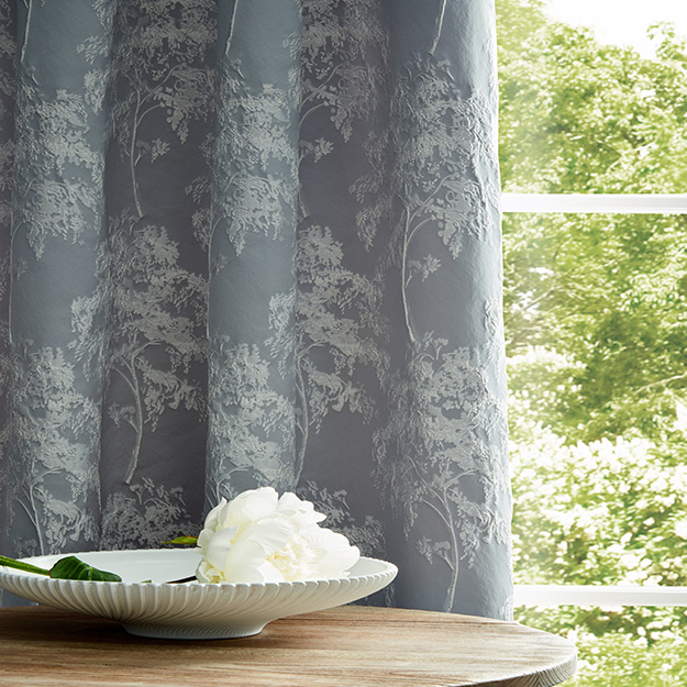 Blue Flower Pattern Curtains