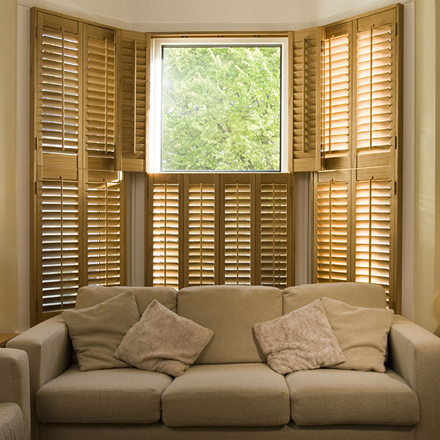 Golden Oak Tier on Tier Shutters
