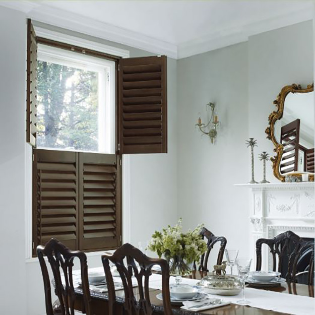 Dark Walnut Tier on Tier Shutters