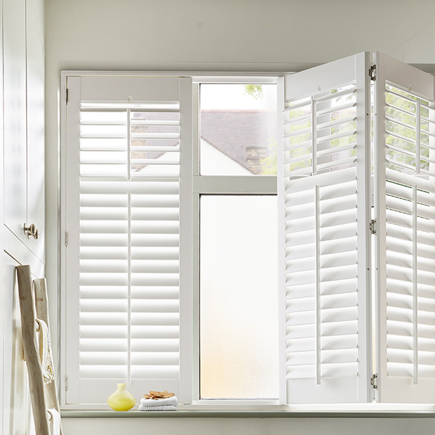Cream Window Tracked Shutter