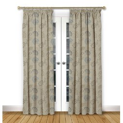 Alderney Dusk pencil pleat curtain