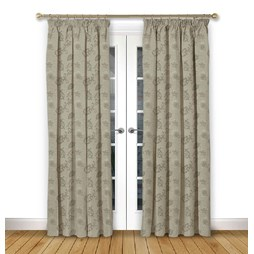 Alderney Mink pencil pleat curtains