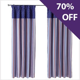 Candy Stripe  - Nautical Pencil Pleat Curtain | Now 70% Off At Capricorn