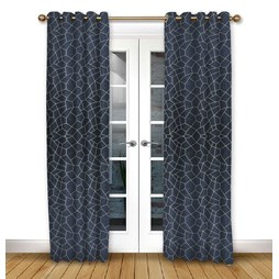 Glacier Ink pencil pleat curtains