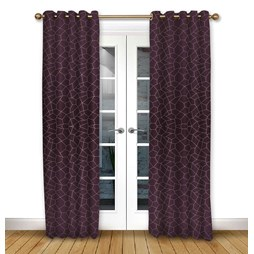Glacier Mulberry eyelet curtains