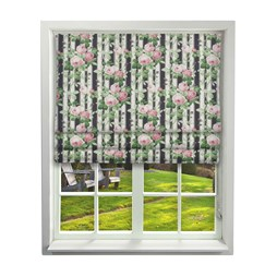 Floral Pavilion Ebony Roman Blinds
