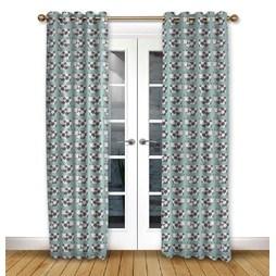 Moo Moo Aqua pencil pleat curtain