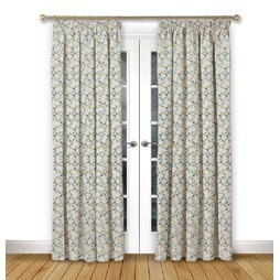 Prism Mustard pencil pleat curtain