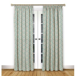 Scandi Birds Aqua pencil pleat curtains