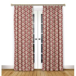 Scandi Birds Scarlet pencil pleat curtain