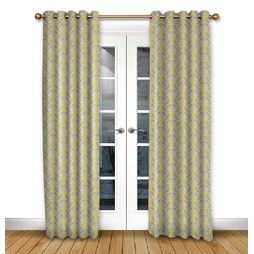 Scandi Birds Mustard eyelet curtain