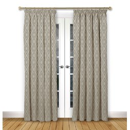 Stratus Driftwood pencil pleat curtains