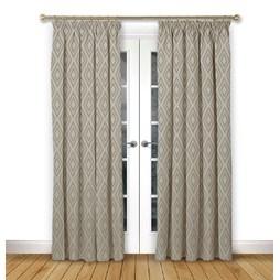 Stratus Driftwood pencil pleat curtains