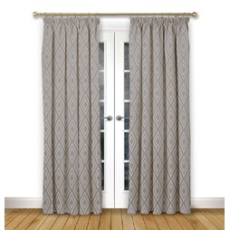 Stratus Flint pencil pleat curtains