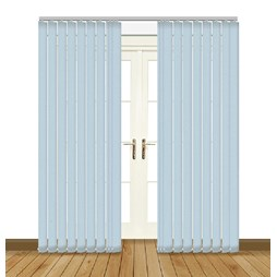 Unilux Powder Blue blackout PVC vertical blind