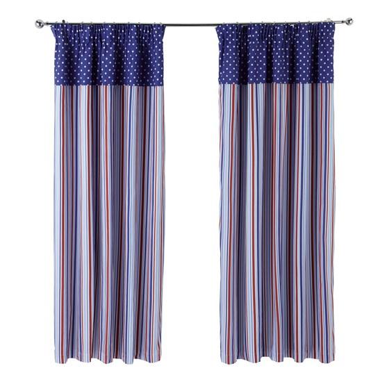 Candy Stripe  - Nautical Pencil Pleat Curtain