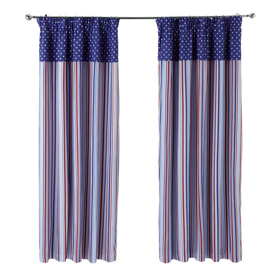 Candy Stripe  - Nautical Pencil Pleat Curtains