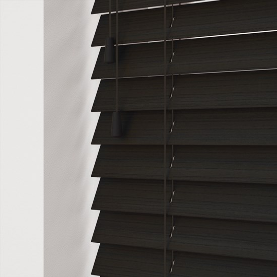 Callo Faux Wood Venetian Blind Cheap Black 50mm Bathroom