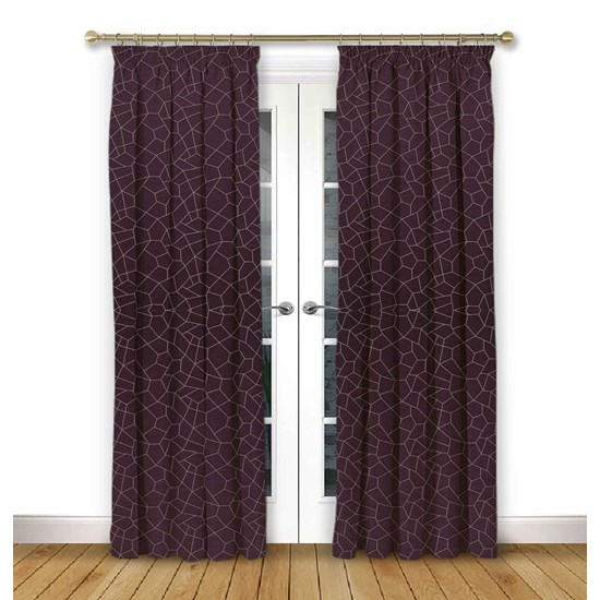 Glacier Mulberry Pencil Pleat Curtains