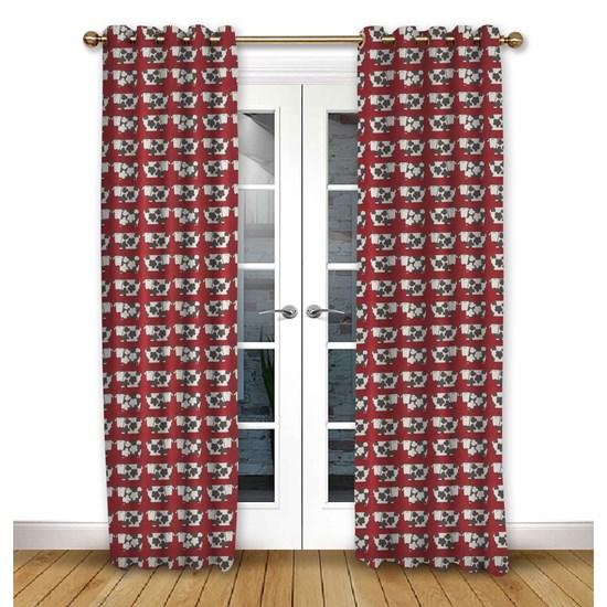 Moo Moo Scarlet Eyelet Curtains