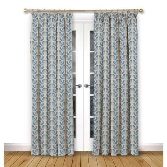 Scandi Birds Capri Pencil Pleat Curtains