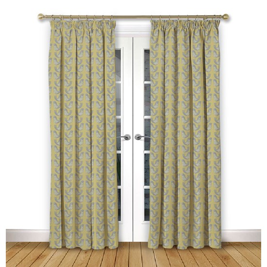 Scandi Birds Mustard Pencil Pleat Curtains