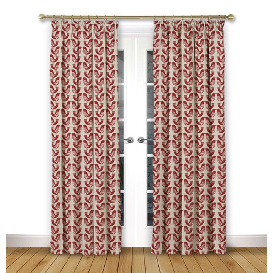 Scandi Birds Scarlet Pencil Pleat Curtains