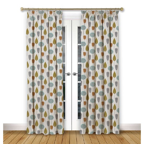 Scandi Trees Tangerine Pencil Pleat Curtains