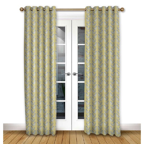Scandi Birds Mustard Eyelet Curtains