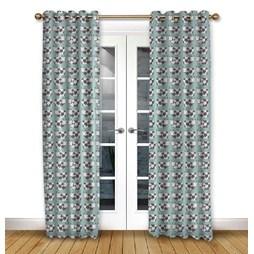 Moo Moo Aqua Eyelet Curtains