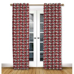 Moo Moo Scarlet Pencil Pleat Curtains