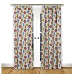 Scandi Trees Scarlet Pencil Pleat Curtains