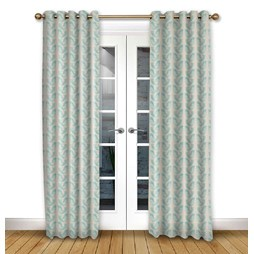 Scandi Birds Aqua Eyelet Curtains