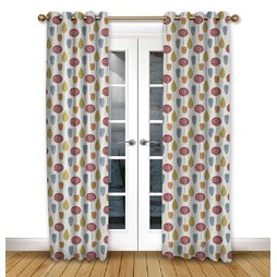 Scandi Trees Scarlet Eyelet Curtains