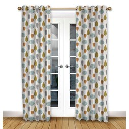 Scandi Trees Tangerine Eyelet Curtains