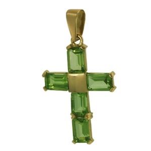 Cruz Oro 1ª Ley 18ct. Olivina
