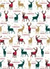 20m (4x5m) Modern Christmas Gift Wrapping Paper - Brown Red Tartan Stag PKT14-17