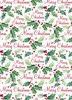 10m (2 x 5m) Traditional Christmas Gift Wrapping Paper - White with Holly